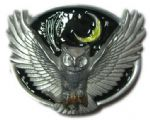 Owl and Moon Belt Buckle + display stand. Code AH1
